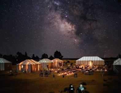 the sahara desert of Merzouga at night