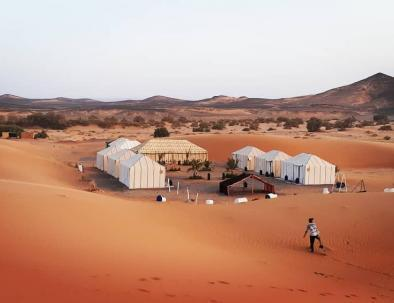 Camp at our tents with the 2 days Fes to Marrakech desert tours
